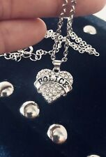 """POLICE Pendant Necklace NEW in Gift Box 18"""" Chain Back The Thin Blue USA Seller"""