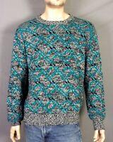 vtg 80s Cross Bay men's Knit Crew Ugly Cosby Sweater Cyan over Salt & Pepper L