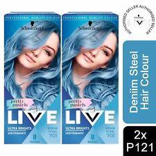 2x Schwarzkopf Live Ultra Brights Semi-Permanent Hair Dye, P121 Denim Steel