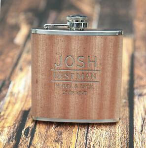 Personalised 6oz Wood/Steel Hip Flask Wedding Best Man Usher WOW !!