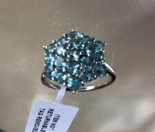 2 Ct, Paraibe Apatite Ring, Cluster, Platinum On Sterling Silver, Size L