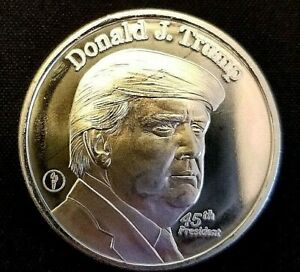 1 Oz Silver - Donald J Trump 45th President - .999 Pure Silver Round - Coin