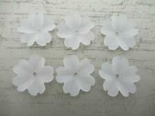 Flower Beads Pendants Drops - Matte Crystal White 23mm - Made in Germany - Qty 6