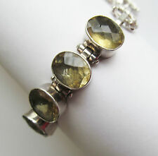 SOLID STERLING SILVER CITRINE GEMSTONE BRACELET