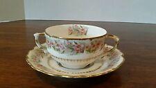 Elite Works Limoges Double Handled Bouillon Cup & Saucer Lot B Romantic Floral