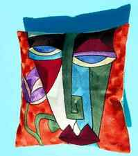 2XEMBROIDERY COTTON CUSHION COVERS 45X45cm FACE STYLE