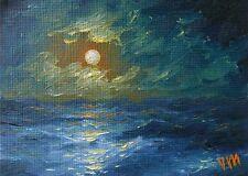 ORIGINAL ACEO OIL PAINTING SEASCAPE Fine Art Moonlit Night Ocean  Mesheryakov