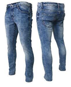 Jeans uomo elasticizzato pantaloni fit comodo denim cotone tasche semplice