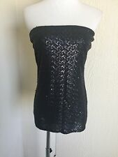 CAbi size M black solid full sequined tube top style sexy top style 151