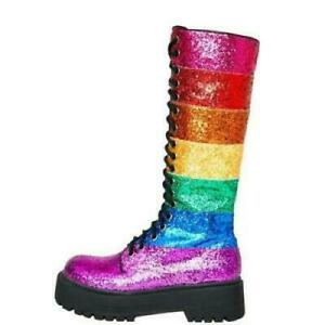 Trendy Women Chic Rainbow Lace Up Round Toes Casual Mid-Calf Boots Shoes US10