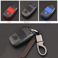 Carbon Fiber Shell+Silicone Cover Remote Key Holder Fob Case For Kia K3 Cerato
