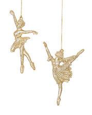 3 x Ballerina Glitter Oro Albero Di Natale Appeso Decorazioni Decorazioni Balletto