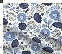 Blue Modern Scandi Floral Scandinavian Flower Fabric Printed by Spoonflower BTY