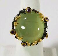 Ladies Handmade Natural Prehnite 925 Sterling Silver Ring Size 8.25