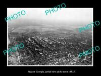 OLD POSTCARD SIZE PHOTO MACON GEORGIA AERIAL VIEW OF THE TOWN c1932