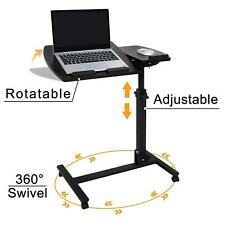 Adjustable Laptop Notebook Rolling Table Desk Stand Overbed Tiltable Tabletop