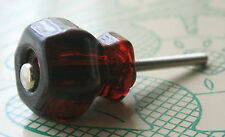 """ANTIQUE REPLICA RUBY RED 1-1/4"""" GLASS HEXAGONAL DRAWER CABINET KNOBS"""