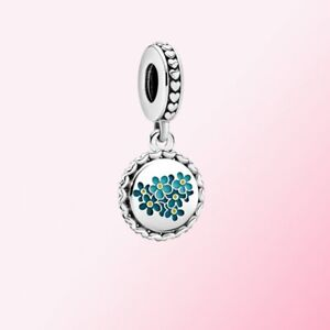 Original 100% S925 Sterling Silver, Blue Forget-Me-Not Flower Dangle Charm Beads