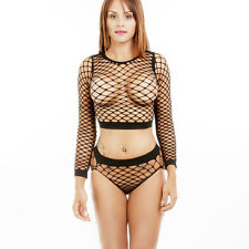 Women Lingerie Babydoll Fishnet Crop Top Pants Set Underwear Nightwear Sleepwear