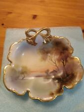 Antique Noritake China Hand Painted Scalloped Footed Dish Landscape design