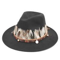 Men Women Wool Panama Hat Wide Brim Fedora Trilby Costume Cap Feather Knit Band