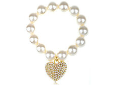 Fabricated White Pearl Bead Bracelet Golden Heart Faux Pearl Love Charm Chain