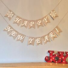 Happy New Year Bunting Banner New Years Eve Hessian Burlap