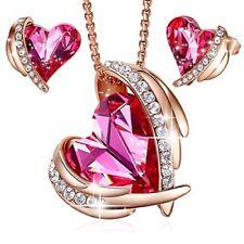 PINK ANGEL 18K ROSE GOLD HEART PENDANT NECKLACE STUD EARRINGS BIRTHDAY GIFT SET