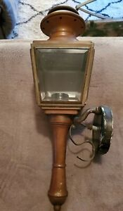 VINTAGE BRASS & COPPER W/BEVELED GLASS MID CENTURY LIGHT FIXTURE PORCH SCONCE