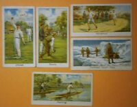 (5) Vintage TURF Tobacco Cards #'s 26, 27, 29,42, &44, Cricket, Bowls, Running,