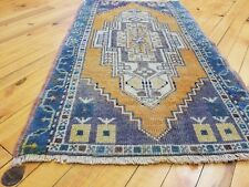 "Beautiful Vintage 1950-1960's Natural Dyed 1'11"" × 3'4"" Wool Pile,Tribal Rug"