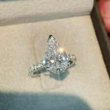 2CT Pear-Cut Diamond Solitaire Silver Engagement Ring VVS1/D Valentine's Gift