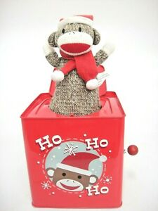 Monkey Town Christmas Toy Sock Monkey Jack in the Box Plays Deck the Halls 2011