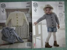 PATTERN ONLY. King Cole pattern 4920. Aran Sweater & Cardigan for boy or girl