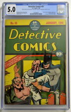 DETECTIVE COMICS #35 CGC 5.0 1940 Batman w Hypodermic Needle c & .45 auto Splash