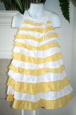 Isobella & Chloe Chasing Fireflies Ruffles Cotton Dress Girl Size 5 Pink Yellow