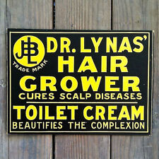 Vintage Original DR. LYNAS HAIR GROWER Quack RX Cardboard Medical Sign 1912 NOS