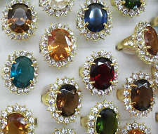 Wholesale Lots 12pcs Big Colorful Prince Wedding Crystal Rhinestone Gold P Ring
