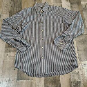 NEW Hugo Boss Mens Dress Shirt 16 34/35 Button Down Long Sleeve Gray Striped