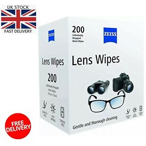 ZEISS Genuine Optical Lens Cleaning Wipes for Glasses Camera Screens Pack of 200