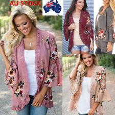 AU 6-20 Womens Long Flared Bell Sleeve Lace Crochet Open Front Cardigan Tops