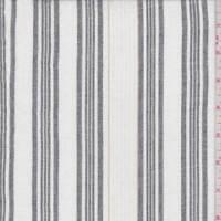 White/Slate Stripe Cotton Gauze, Fabric By The Yard
