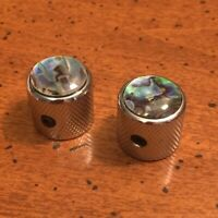 GUITAR KNOB SET - 2 Piece DOME with ABALONE TOP Metal Barrel Style - CHROME