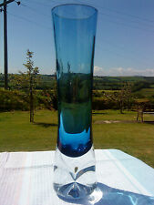 CASED BLUE COLOURED HAND BLOWN GLASS VASE