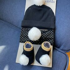 Sandy & Simon 3-piece Set Cap, Headband, Socks One Size New Black White Gold
