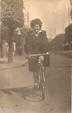 BK240 Carte Photo vintage card RPPC Femme vélo bicyclette route