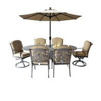 9 piece patio dining set Elisabeth oval table 2 Flamingo swivel rocker 4 chairs.