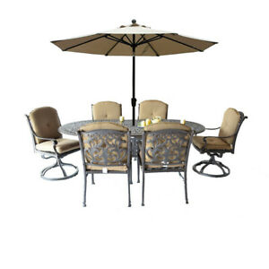 9 piece patio dining set Elisabeth oval table 2 Flamingo swivel rocker 4 chairs.