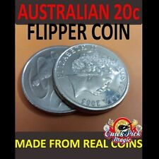 MAGIC FLIPPER COIN AUSTRALIAN 20 CENT / AUD COIN MAGIC TRICK / AU 20C FLIPPER
