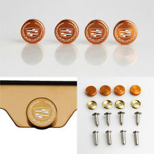 Laser Etched Rose Gold Aluminum New Cadillac License Plate Frame Bolts Screw Cap